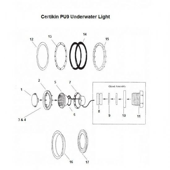 Certikin PU9 Underwater Light Spares